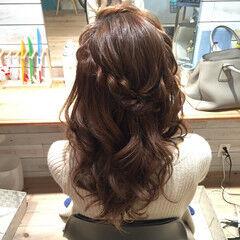 セミロング 編み込みヘア ヘアアレンジ ヘアセット ヘアスタイルや髪型の写真・画像