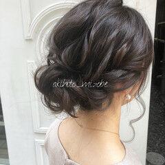 ふわふわヘアアレンジ 結婚式ヘアアレンジ ヘアセット ミディアム ヘアスタイルや髪型の写真・画像