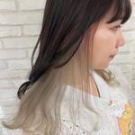インナーカラー 前髪インナーカラー インナーカラーホワイト ロング