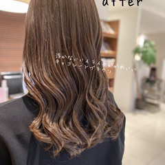 フェミニン ミルクティーベージュ ショコラブラウン 透明感カラー ヘアスタイルや髪型の写真・画像