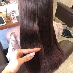透明感カラー ラベンダーピンク 艶カラー ロング ヘアスタイルや髪型の写真・画像