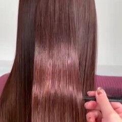 ピンクブラウン ロング ナチュラル 髪質改善 ヘアスタイルや髪型の写真・画像