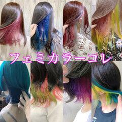 フェミニン セミロング アッシュ 透明感カラー ヘアスタイルや髪型の写真・画像