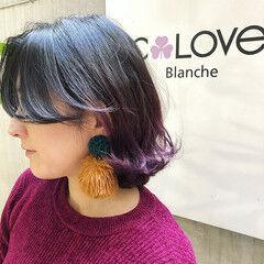 グラデーションカラー 紫 バレイヤージュ ボブ ヘアスタイルや髪型の写真・画像