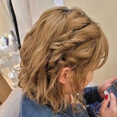 ボブアレンジ 簡単ヘアアレンジ ボブ ガーリー ヘアスタイルや髪型の写真・画像