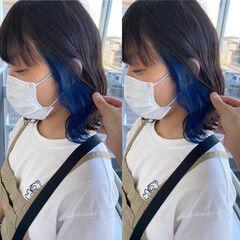 インナーブルー ブルーアッシュ ブルージュ ナチュラル可愛い ヘアスタイルや髪型の写真・画像