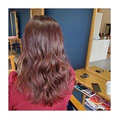 ベリーピンク ナチュラル 大人ロング チェリーピンク ヘアスタイルや髪型の写真・画像