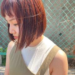ナチュラル ミニボブ オレンジブラウン オレンジカラー ヘアスタイルや髪型の写真・画像