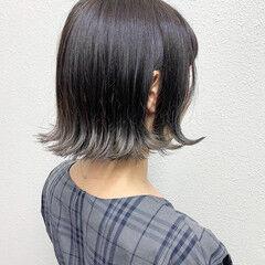 グレージュ 暗髪 ガーリー ショートボブ ヘアスタイルや髪型の写真・画像