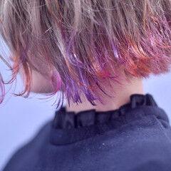 暖色 カラーバター 切りっぱなしボブ 裾カラー ヘアスタイルや髪型の写真・画像