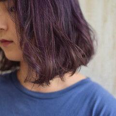 ラベンダーカラー ボブ エレガント ヴァイオレット ヘアスタイルや髪型の写真・画像