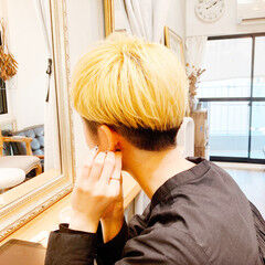 イエローベージュ ショート イエローアッシュ オレンジベージュ ヘアスタイルや髪型の写真・画像