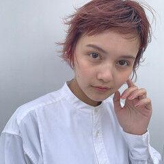 ショートヘア ピンクパープル ショート ベリーショート ヘアスタイルや髪型の写真・画像
