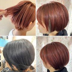 ショート 大人ハイライト コーラルピンク ベリーショート ヘアスタイルや髪型の写真・画像