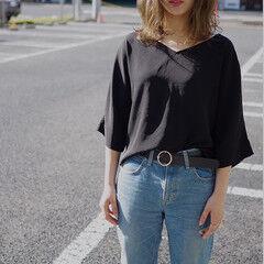 ストリート グラデーションカラー ルーズ グレージュ ヘアスタイルや髪型の写真・画像