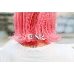 ボブ ストリート コーラルピンク ラベンダーピンク ヘアスタイルや髪型の写真・画像
