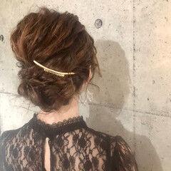 ヘアメイク 大人ミディアム シニヨン エレガント ヘアスタイルや髪型の写真・画像