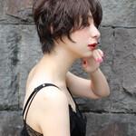 ショート ショートボブ 濡れ髪スタイル ナチュラル