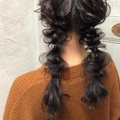 ツインテール ロング ヘアアレンジ 大人かわいい ヘアスタイルや髪型の写真・画像