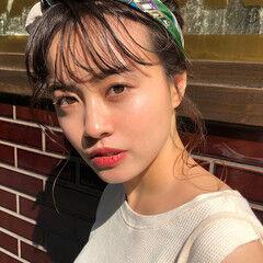 シースルーバング フェミニン ヘアアレンジ 黒髪 ヘアスタイルや髪型の写真・画像