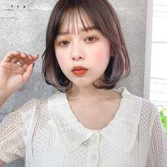 インナーカラー 内巻き レイヤーボブ 韓国ヘア ヘアスタイルや髪型の写真・画像