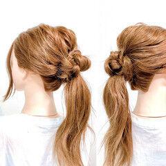 ロング ヘアアレンジ 簡単ヘアアレンジ 三つ編み ヘアスタイルや髪型の写真・画像