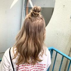 ガーリー セミロング まとめ髪 ヘアセット ヘアスタイルや髪型の写真・画像