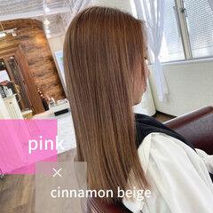 ロング ミルクティーベージュ コテ巻き ロングヘアスタイル ヘアスタイルや髪型の写真・画像
