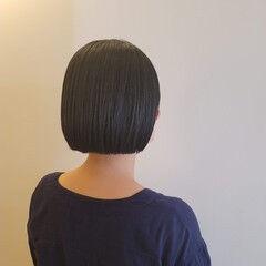 切りっぱなしボブ ナチュラル ボブ ミニボブ ヘアスタイルや髪型の写真・画像