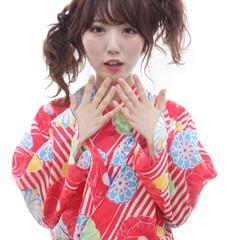 大人かわいい 浴衣アレンジ ヘアアレンジ ミディアム ヘアスタイルや髪型の写真・画像