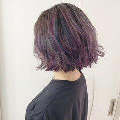 ユニコーンカラー カラーバター ダブルカラー エレガント ヘアスタイルや髪型の写真・画像