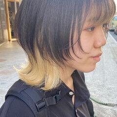 インナーカラー ミディアム ブリーチカラー ナチュラルウルフ ヘアスタイルや髪型の写真・画像