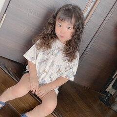 子供 ガーリー パーマ セミロング ヘアスタイルや髪型の写真・画像