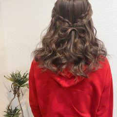 ヘアセット ミディアム りぼん 編み込み ヘアスタイルや髪型の写真・画像