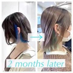 フェミニン ボブ インナーカラーグレージュ インナーカラーシルバー ヘアスタイルや髪型の写真・画像