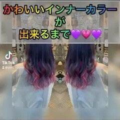 ロング ラベンダーピンク ラベンダーカラー 派手髪 ヘアスタイルや髪型の写真・画像