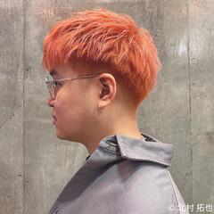 ハイトーンカラー オレンジカラー ショート ナチュラル ヘアスタイルや髪型の写真・画像