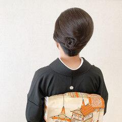 黒留袖 着物 夜会巻 エレガント ヘアスタイルや髪型の写真・画像