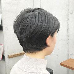 ナチュラル 耳かけ ショート ショートボブ ヘアスタイルや髪型の写真・画像