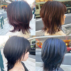 バイオレットアッシュ ミディアム アッシュバイオレット マッシュウルフ ヘアスタイルや髪型の写真・画像