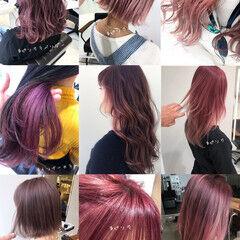 インナーカラー ナチュラル ミディアム ピンクカラー ヘアスタイルや髪型の写真・画像