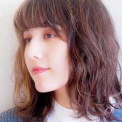 デジタルパーマ ミディアム ゆるふわパーマ 無造作ミックス ヘアスタイルや髪型の写真・画像