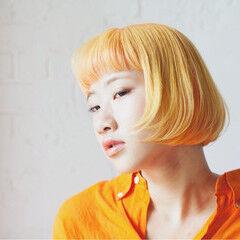 ハイトーン モード ボブ ビビッドカラー ヘアスタイルや髪型の写真・画像