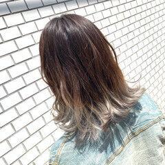 ホワイトグラデーション ミディアム ブリーチ グラデーション ヘアスタイルや髪型の写真・画像