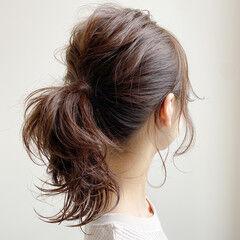 大人かわいい ミディアム 簡単ヘアアレンジ エレガント ヘアスタイルや髪型の写真・画像