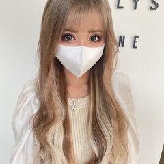 フェミニン ホワイトハイライト ハイライト インナーカラー ヘアスタイルや髪型の写真・画像
