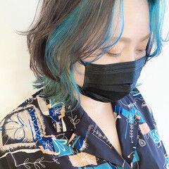 インナーカラー インナーブルー ターコイズ モード ヘアスタイルや髪型の写真・画像