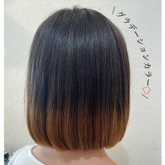 グラデーション グラデーションボブ グラデーションカラー タンバルモリ ヘアスタイルや髪型の写真・画像