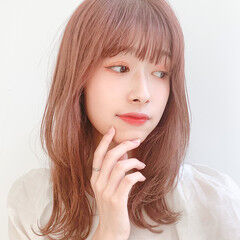 鎖骨ミディアム 透明感 小顔ヘア ミディアム ヘアスタイルや髪型の写真・画像