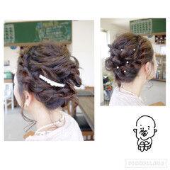 ミディアム パーティ 結婚式 ヘアピン ヘアスタイルや髪型の写真・画像